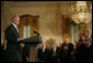 """President George W. Bush speaks during the presentation of the 2007 National Medal of the Arts and Humanities Thursday, Nov. 15, 2007, in the East Room. """"Your accomplishments remind us that freedom of thought and freedom of expression are two pillars of our democracy,"""" said President Bush. White House photo by Shealah Craighead"""