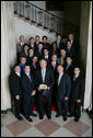 President George W. Bush stands with members of the Penn State Men's Gymnastics 2007 Championship Team Monday, June 18, 2007 at the White House, during a photo opportunity with the 2006 and 2007 NCAA Sports Champions. White House photo by Eric Draper