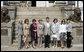 Partners of the G8 leaders pose outside Burg Schlitz Thursday, June 7, 2007, in Hohen Demzin, Germany. From left are: Mrs. Laureen Harper, Mrs. Lyudmila Putina, Mrs. Flavia Franzoni, Mrs. Laura Bush, Dr. Joachim Sauer, Mrs. Cherie Booth Blair, Mrs. Maria Margarida Pinto Ribeiro Sousan Uva Barroso and Mrs. Akie Abe. White House photo by Shealah Craighead