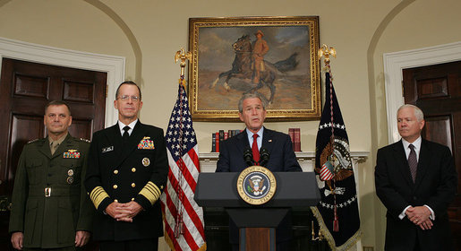 President George W. Bush stands stands with Marine General James Cartwright, left, Navy Admiral Michael Mullen, and Secretary of Defense Robert Gates, right, as he announces his nomination of Admiral Mullen as Chairman and Gen. Cartwright as Vice Chairman of the Joint Chiefs of Staff Thursday, June 28, 2007, in the Roosevelt Room of the White House. White House photo by Chris Greenberg
