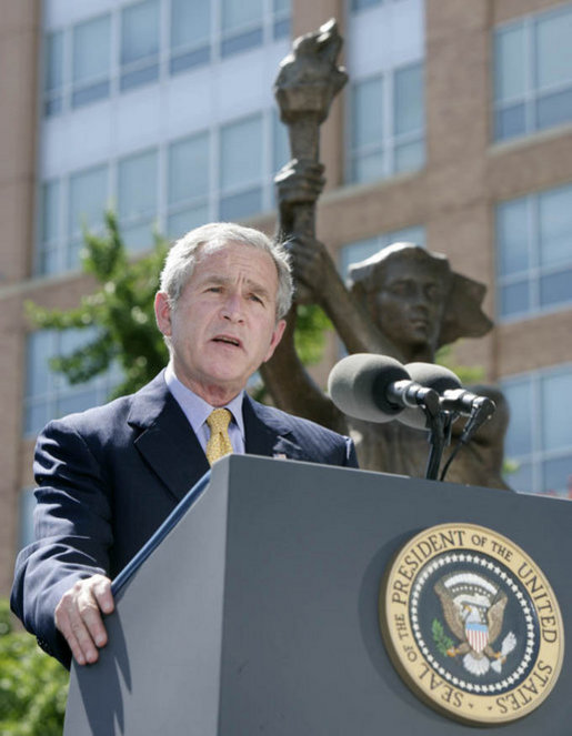 "President George W. Bush addresses his remarks Tuesday, June 12, 2007, at the dedication ceremony for the Victims of Communism Memorial in Washington, D.C. President Bush, speaking on the anniversary of President Ronald Reagan's Berlin Wall speech, said ""It's appropriate that on the anniversary of that speech, that we dedicate a monument that reflects our confidence in freedom's power."" White House photo by Joyce N. Boghosian"