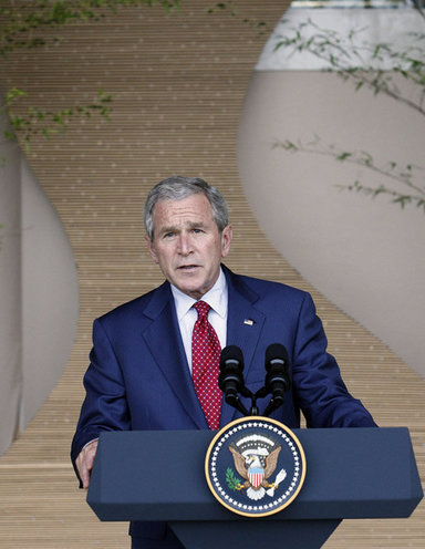President George W. Bush delivers remarks at the conclusion of the G-8 Summit Wednesday, July 9, 2008, in Toyako, Japan. White House photo by Eric Draper