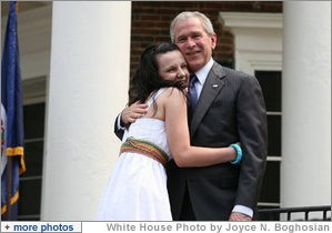 President George W. Bush  congratulates  new United States Citizens at Monticello's 46th  Annual Independence Day Celebration and Naturalization Ceremony Friday, July 4. 2008, in Charlottesville, VA. White House photo by Joyce N Boghosian