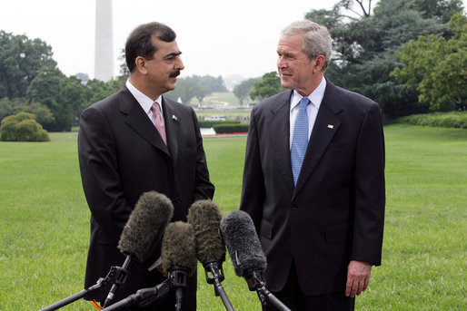 President George W. Bush and Pakistani Prime Minister Syed Yousaf Raza Gillani speak to the press Monday, July 28, 2008, on the South Lawn on the White House. White House photo by Chris Greenberg