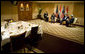"""President George W. Bush meets with Prime Minister Nouri al-Maliki of Iraq Thursday, Nov. 30, 2006, at the Four Seasons Hotel in Amman. Afterward, the two leaders issued a joint statement that thanked Jordan's King Abdullah II for hosting the Amman meetings and said they were pleased to """"continue our consultations on building security and stability in Iraq."""" White House photo by Eric Draper"""