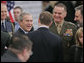 President George W. Bush talks with fellow NATO heads of state and government during the 2006 NATO Summit Wednesday, Nov. 29, 2006, in Riga, Latvia. White House photo by Paul Morse