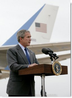President George W. Bush delivers a statement on the verdict in the trial of Saddam Hussein in Waco, Texas, Sunday, Nov. 5, 2006. White House photo by Eric Draper