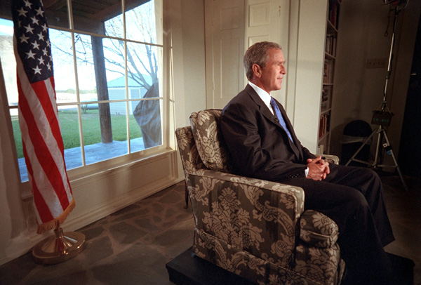 President Bush talks to the nation about stem cell research from Crawford, Texas, Thursday, August 9, 2001. White House Photo by Eric Draper.