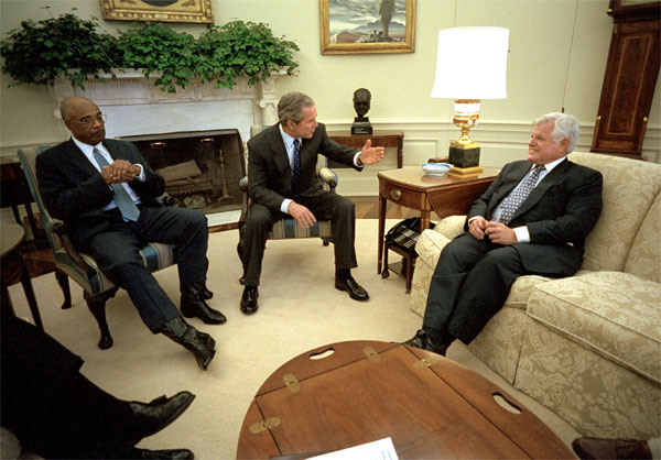 President Bush meets with Secretary of Education Rod Paige, left, and Senator Edward Kennedy August 2, 2001, to discuss the education reforms for the country. White House photo by Eric Draper.