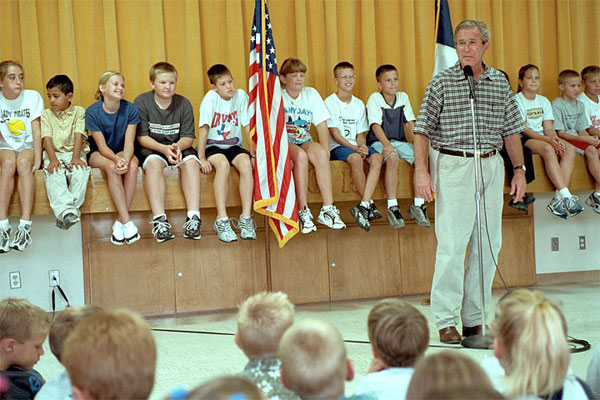 """During an impromptu visit to Crawford Elementary School Aug. 23, President Bush fielded a variety of question from inquisitive students who wanted to know what is it like being President, where the White House is located, how old the President is and what he scored in a recent round of golf. """"Too high to count,"""" replied President Bush laughing. White House photo by Moreen Ishikawa."""