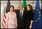 Mrs. Laura Bush and daughter, Barbara Bush, are greeted by Italian Prime Minister Silvio Berlusconi, Thursday, Feb. 9, 2006 at the Villa Madama in Rome. White House photo by Shealah Craighead