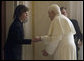 Mrs. Laura Bush meets in a private audience with Pope Benedict XVI, Thursday, Feb. 9, 2006 at The Vatican. White House photo by Shealah Craighead