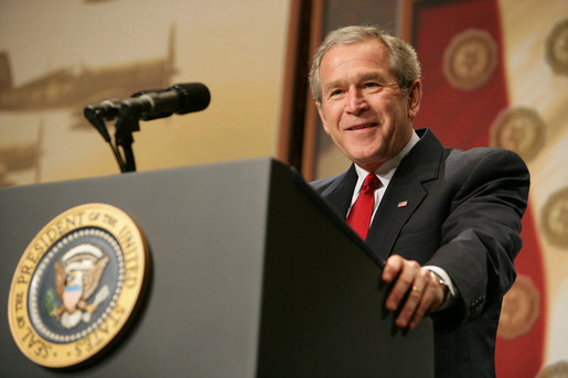 President George W. Bush addresses the American Legion on the global war on terror, Friday, Feb. 24, 2006 at the Capital Hilton Hotel in Washington. President Bush voiced his support for free elections in the Middle East, saying that free elections are instruments of change, giving people an opportunity to organize, express views and change their existing order, strengthening the forces of freedom and allowing citizens to take control of their own destiny. White House photo by Kimberlee Hewitt