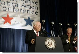 """Vice President Dick Cheney is welcomed before delivering the keynote address at the 33rd Annual Conservative Political Action Conference Dinner in Washington, Thursday, February 9, 2006. During his remarks on the 2006 Agenda the Vice President commented on the steadfast nature of the American people and said, """"in these five years we've been through a great deal as a nation. Yet with each test, the American people have displayed the true character of our country. We have built for ourselves an economy and a standard of living that are the envy of the world. We have faced dangers with resolve. And we have been defended by some of the bravest men and women this nation has ever produced."""" White House photo by Kimberlee Hewitt"""