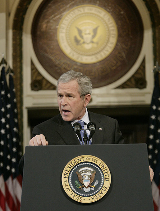 President George W. Bush gestures as he addresses reporters during his news conference Wednesday, Dec. 20, 2006, in the Indian Treaty Room at the Eisenhower Executive Office Building in Washington, D.C., speaking on the challenges in Iraq and working with the new Congress in 2007. White House photo by Kimberlee Hewitt