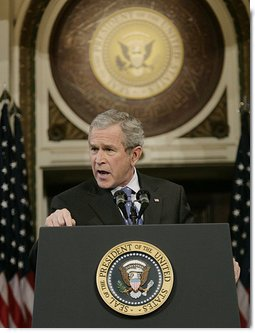 President George W. Bush gestures as addresses reporters during his news conference Wednesday, Dec. 20, 2006, in the Indian Treaty Room at the Eisenhower Executive Office Building in Washington, D.C., speaking on the challenges in Iraq and working with the new Congress in 2007. White House photo by Eric Draper