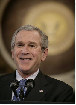 President George W. Bush addresses reporters during his news conference Wednesday, Dec. 20, 2006, in the Indian Treaty Room at the Eisenhower Executive Office Building in Washington, D.C. White House photo by Eric Draper