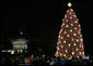 Crowds on the Ellipse in Washington, D.C., watch the annual lighting of the National Christmas Tree, attended by President George W. Bush and Laura Bush, Thursday evening, Dec. 7, 2006, during the 2006 Christmas Pageant of Peace. White House photo by Paul Morse