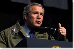 """President George W. Bush speaks to troops during his visit to Fort Hood in Killeen, Texas, Friday, Jan. 3, 2003. """"Our country is in a great contest of will and purpose. We're being tested. In times of crisis, we will act decisively,"""" said the President in his remarks. """"And in times of calm, we'll be focused and patient and relentless in our pursuit of the enemy. That's what we owe the American people.""""  White House photo by Eric Draper"""