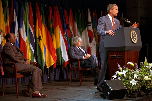 Addressing the World bank in Washington, D.C., President Bush outlines his plans to discuss the needs of developing nations with European leaders during this week's trip to Europe. White House photo by Moreen Ishikawa.