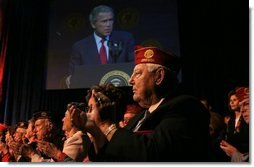 "President George W. Bush addresses the 85th Annual American Legion Convention in St. Louis, Mo., Tuesday, Aug. 26, 2003. ""In the 20th century, the American flag and the American uniform stood for something unique in history,"" President Bush said in his remarks. ""America's armed forces humbled tyrants and raised up and befriended nations that once fought against us.""  White House photo by Paul Morse"