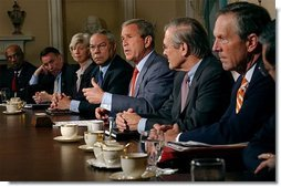 President George W. Bush addresses the media during a Cabinet meeting at the White House Aug. 1, 2003.  White House photo by Tina Hager
