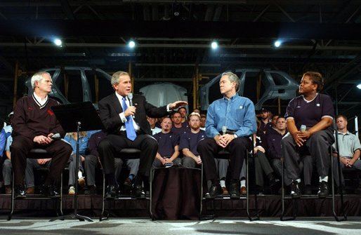President George W. Bush discusses jobs and the economy with employers and employees at BMW Manufacturing Corporation in Greer, S.C., Monday, Nov. 10, 2003. White House photo by Tina Hager