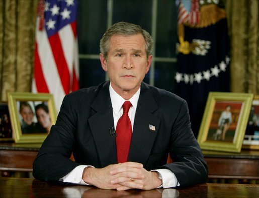 President George W. Bush addresses the nation from the Oval Office at the White House Wednesday evening, March 19, 2003. White House photo by Paul Morse