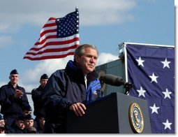 """President George W. Bush addresses members of the United States Coast Guard in Philadelphia Monday, March 31, 2003. """"Now, as part of the Department of Homeland Security, you have taken on a new and vital mission, a mission as important as any in your 213-year history: the mission of defending our country against terrorist attack,"""" President Bush said.  White House photo by Tina Hager"""