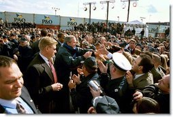 President George W. Bush greets U. S. Coast Guard personnel during his visit to the port in Philadelphia Monday, March 31, 2003.  White House photo by Tina Hager