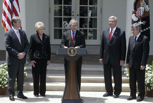 "President George W. Bush delivers a statement on CAFE and alternative fuel standards Monday, May 14, 2007, in the Rose Garden. Pictured with President Bush are, from left: Energy Deputy Secretary Clay Sell, Transportation Secretary Mary Peters, EPA Administrator Stephen Johnson and Agricultural Secretary Mike Johanns. ""Our dependence on oil creates a threat to America's national security, because it leaves us more vulnerable to hostile regimes, and to terrorists who could attack oil infrastructure,"" said President Bush. White House photo by Joyce Boghosian"