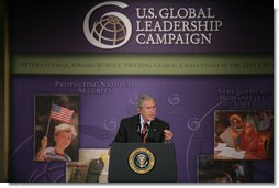 """President George W. Bush addresses the United States Global Leadership Campaign Thursday, May 31, 2007, at the Ronald Reagan Building and International Center in Washington, D.C. """"This is a fine organization and it's an important organization,"""" said President Bush. """"It's rallying businesses and non-governmental organizations and faith-based and community and civic organizations across our country to advance a noble cause, ensuring that the United States leads the world in spreading hope and opportunity."""" White House photo by Chris Greenberg"""