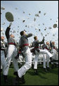 Graduates of the U.S. Military Academy toss their hats in celebration Saturday, May 26, 2007, following commencement ceremonies in West Point, N.Y. White House photo by David Bohrer