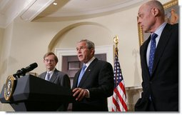 President George W. Bush is joined by U.S. Treasury Secretary Henry Paulson, right, and former Deputy Secretary of State Robert B. Zoellick Wednesday, May 30, 2007, in the Roosevelt Room at the White House, as President Bush nominates Zoellick to be the new president at the World Bank replacing Paul Wolfowitz.  White House photo by Chris Greenberg