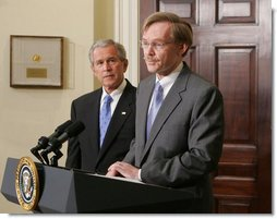 President George W. Bush listens as former Deputy Secretary of State Robert B. Zoellick addresses members of the media Wednesday, May 30, 2007, in the Roosevelt Room at the White House following President Bush's nomination of Zoellick to be the new president at the World Bank.  White House photo by Chris Greenberg