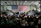 """Vice President Dick Cheney addresses U.S. troops during a rally, Friday, May 11, 2007, aboard the aircraft carrier USS John C. Stennis in the Persian Gulf. """"I've been around for a while -- so long, in fact, that I even knew Senator John Stennis personally,"""" said the Vice President, adding, """"but I've never been more proud of the United States military than I am today. It's an incredibly challenging time for the country, and there's serious work being done on many fronts. You're doing all that we ask of you, and you're doing it with skill and with honor."""" White House photo by David Bohrer"""