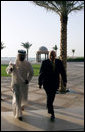 Vice President Dick Cheney and Crown Prince Sheikh Mohammad bin Zayed of Abu Dhabi, walk together to their meeting Friday May 11, 2007, at the Emirates Palace Hotel in Abu Dhabi, United Arab Emirates. White House photo by David Bohrer