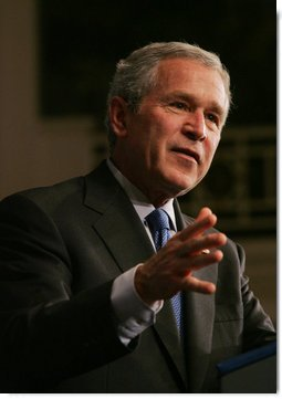President George W. Bush gestures as he addresses his remarks on the U.S. economy and national security to the Associated General Contractors of America Wednesday, May 2, 2007, at the Willard Hotel in Washington, D.C. White House photo by Joyce N. Boghosian