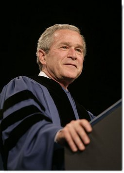 """President George W. Bush delivers the commencement address Friday, May 11, 2007, at Saint Vincent College in Latrobe, Pa., where President Bush encouraged graduates to """"step forward and serve a cause larger than yourselves."""" White House photo by Joyce N. Boghosian"""
