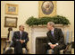 """President George W. Bush meets with President Ali Abdullah Saleh of Yemen in the Oval Office Wednesday, May 2, 2007. Said the President, """"We had a very good discussion about the neighborhood in which the President lives. And I thanked the President for his strong support in this war against extremists and terrorists."""" White House photo by Joyce Boghosian"""
