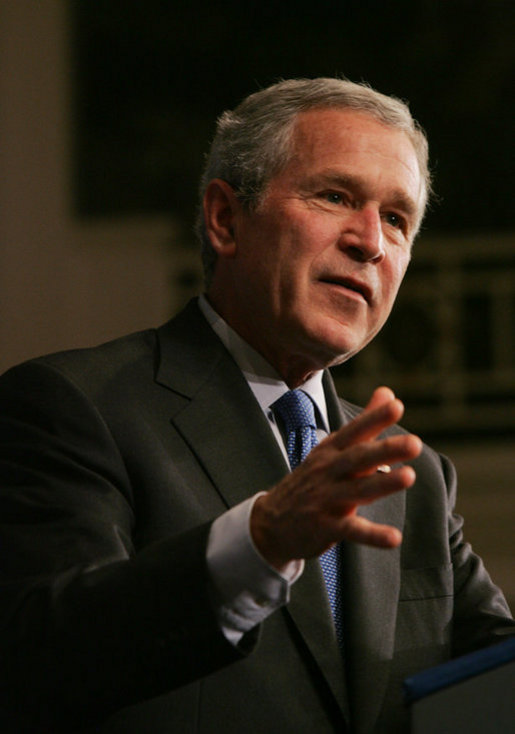 President George W. Bush gestures as he addresses his remarks on the U.S. economy and national security to the Associated General Contractors of America Wednesday, May 2, 2007, at the Willard Hotel in Washington, D.C. White House photo by Joyce Boghosian