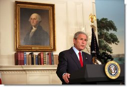 """President George W. Bush delivers a statement on Darfur Tuesday, May 29, 2007, in the Diplomatic Reception Room of the White House. Said the President, """" The people of Darfur are crying out for help. I urge the United Nations Security Council, the African Union, and all members of the international community to reject any efforts to obstruct implementation of the agreements that would bring peace to Darfur and Sudan.""""  White House photo by David Bohrer"""