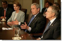 """President George W. Bush speaks during a meeting with the bicameral, bipartisan Congressional leadership Wednesday, May 2, 2007, in the Cabinet Room of the White House. Said the President before the meeting, """" I thank the leaders from Congress for coming down to discuss the Iraq funding issue. Yesterday was a day that highlighted differences. Today is a day where we can work together to find common ground.""""  White House photo by Eric Draper"""
