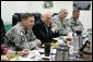 Vice President Dick Cheney participates in a classified briefing Thursday, May 10, 2007, with U.S. commanders General David Petraeus, left, and Lieutenant Generals Raymond Odierno and Stanley McChrystal during a visit to Contingency Operating Base Speicher near Tikrit, Iraq. White House photo by David Bohrer