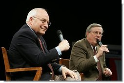 Vice President Dick Cheney and Rep. Bill Thomas, R-CA, chairman of the Ways and Means Committee, discuss Social Security reform during a town hall meeting in Bakersfield, Calif., March 21, 2005.  White House photo by David Bohrer