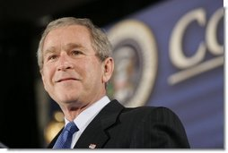 President Bush discusses his faith-based agenda during a White House Faith-Based and Community Initiatives Leadership Conference in Washington D.C., Tuesday, March 1, 2005.  White House photo by Paul Morse