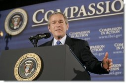 President George W. Bush delivers remarks at a White House Faith-Based and Community Initiatives Leadership Conference in Washington, D.C., Tuesday, March 1, 2005.  White House photo by Paul Morse
