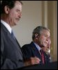 """President George W. Bush participates in a March 23, 2005, joint news conference with Mexican President Vicente Fox, left, and Canadian Prime Minister Paul Martin, right, at Baylor University in Waco, Texas. """"It's important for us to work to make sure our countries are safe and secure, in order that our people can live in peace, as well as our economies can grow,"""" said President Bush. White House photo by Krisanne Johnson White House photo by Krisanne Johnson"""