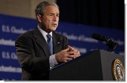 """President George W. Bush addresses the United States Chamber of Commerce Friday, Oct. 17, 2008, in Washington, D.C. The President spoke on the state of the economy and thanked the Chamber and its members for """"efforts to support the spirit of free enterprise, and to advance the interests of business, large and small, across our great country.""""  White House photo by Eric Draper"""