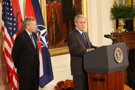 President George W. Bush is joined by NATO Secretary General Jaap De Hoop Scheffer as he addresses his remarks to invited guests Friday, Oct. 24, 2008 in the East Room of the White House, prior to signing the NATO accession protocols in support of the nations of Albania and Croatia to join the NATO alliance. White House photo by Chris Greenberg